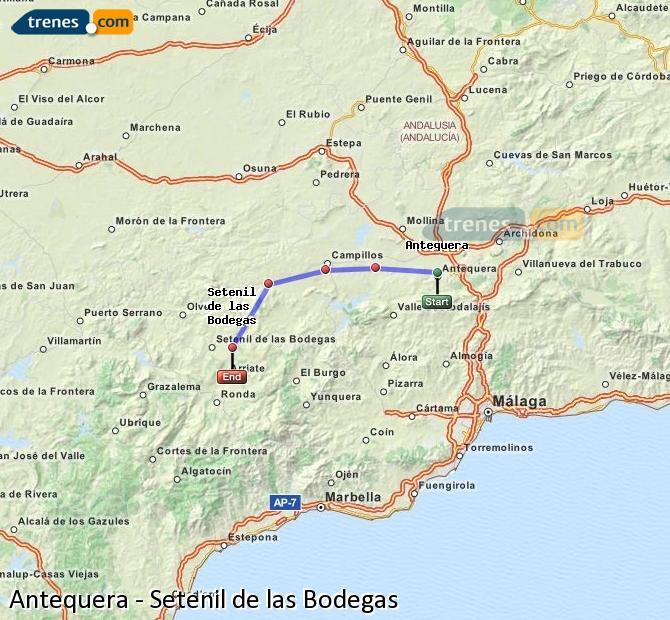 Enlarge map Trains Antequera to Setenil de las Bodegas