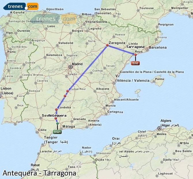Ingrandisci la mappa Treni Antequera Tarragona