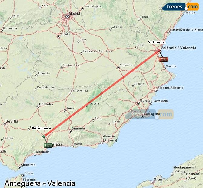 Karte vergrößern Züge Antequera Valencia