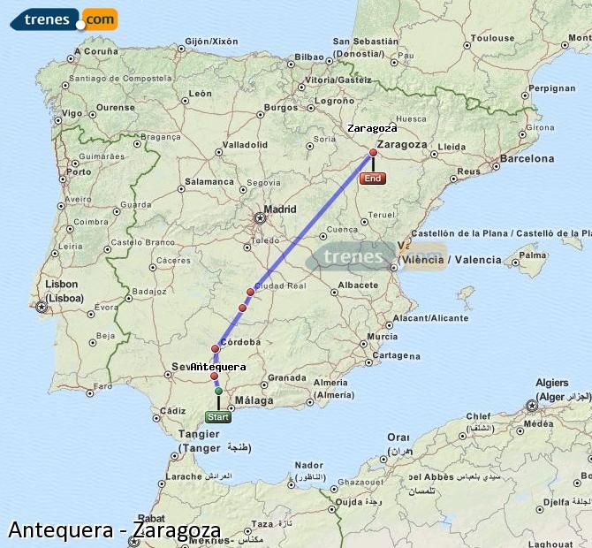Karte vergrößern Züge Antequera Zaragoza
