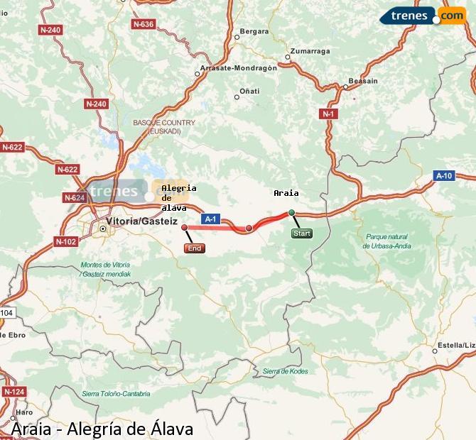 Karte vergrößern Züge Araia Alegría de Álava