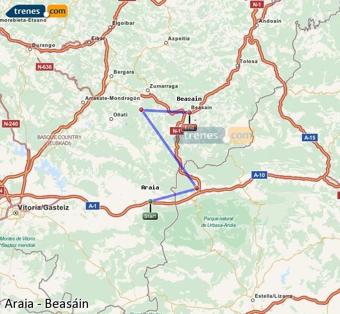 Ampliar mapa Comboios Araia Beasáin