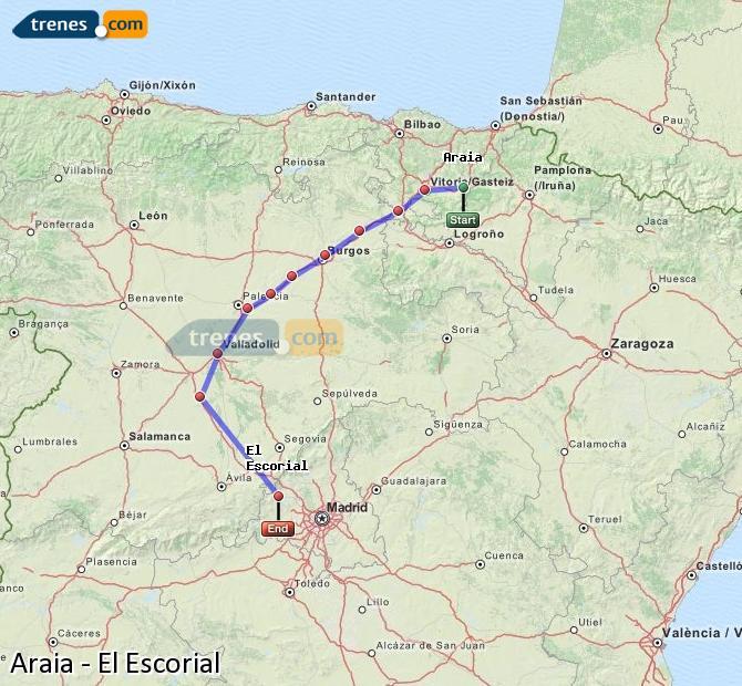 Agrandir la carte Trains Araia El Escorial