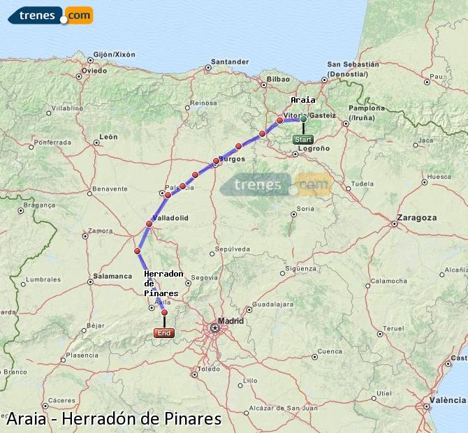 Enlarge map Trains Araia to Herradón de Pinares