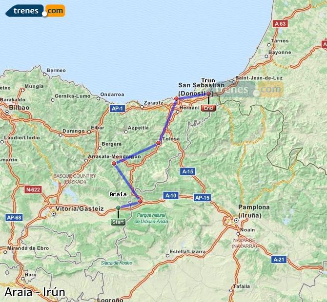 Ampliar mapa Comboios Araia Irún