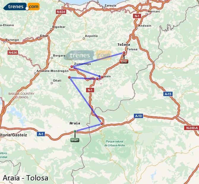 Enlarge map Trains Araia to Tolosa