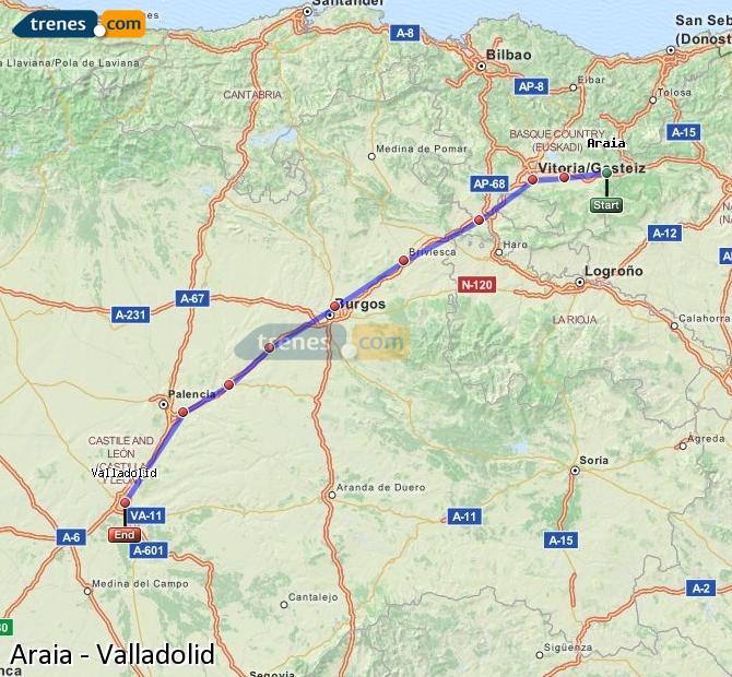 Karte vergrößern Züge Araia Valladolid