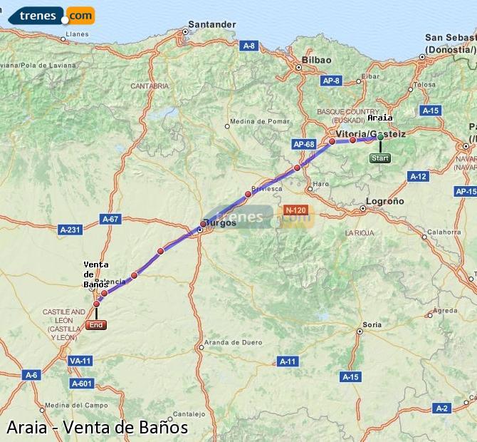 Ingrandisci la mappa Treni Araia Venta de Baños