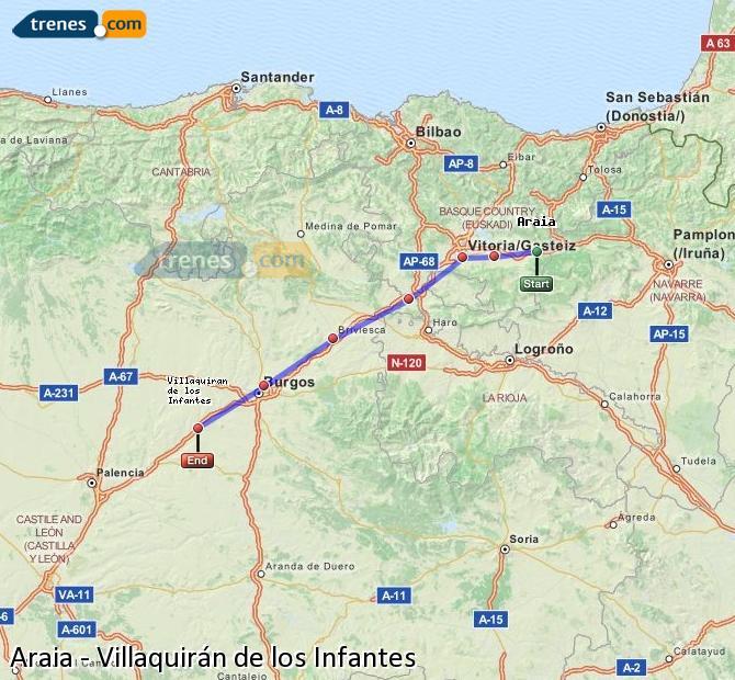 Ingrandisci la mappa Treni Araia Villaquirán de los Infantes
