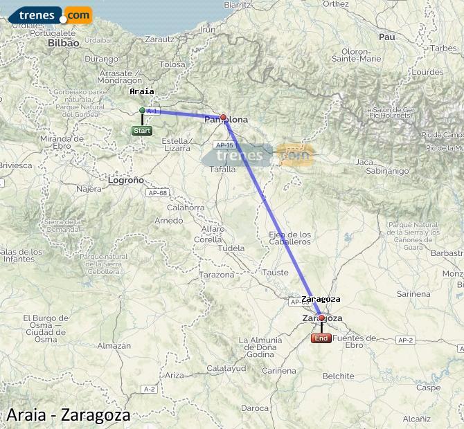 Karte vergrößern Züge Araia Zaragoza