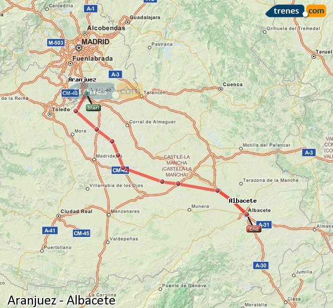Agrandir la carte Trains Aranjuez Albacete