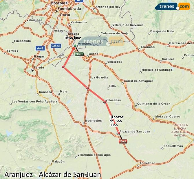 Enlarge map Trains Aranjuez to Alcazar de San Juan