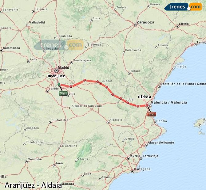 Enlarge map Trains Aranjuez to Aldaia
