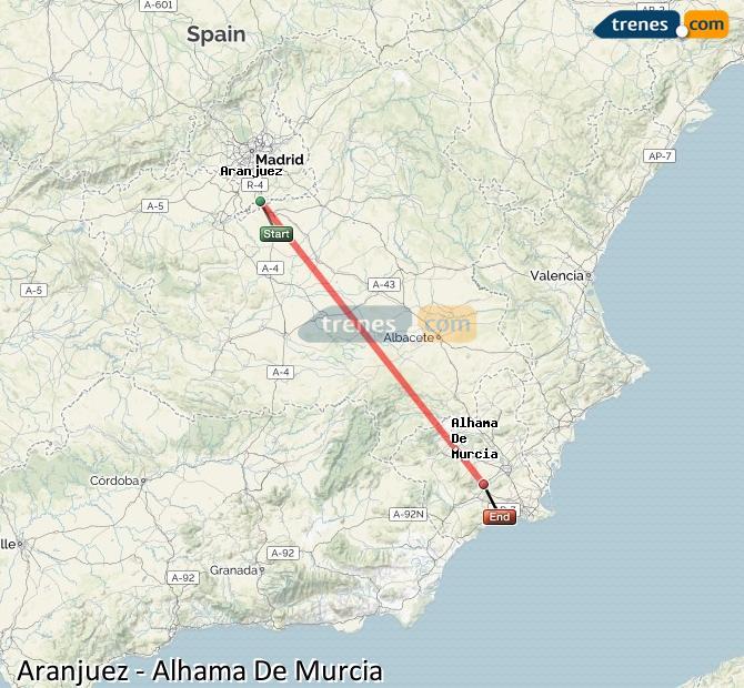 Karte vergrößern Züge Aranjuez Alhama De Murcia