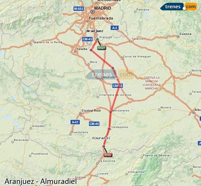 Karte vergrößern Züge Aranjuez Almuradiel