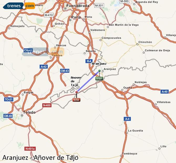 Karte vergrößern Züge Aranjuez Añover de Tajo