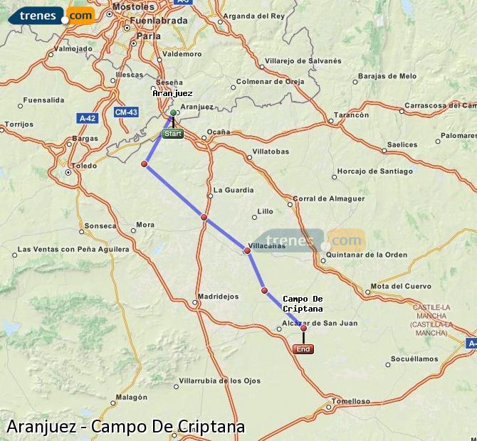 Ampliar mapa Comboios Aranjuez Campo De Criptana