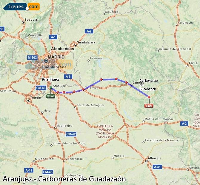 Enlarge map Trains Aranjuez to Carboneras of Guadazaón