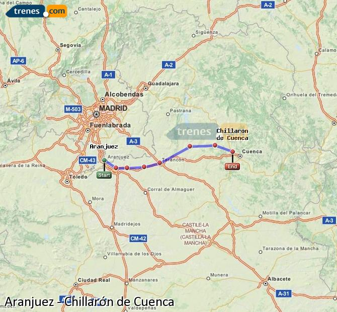 Agrandir la carte Trains Aranjuez Chillarón de Cuenca