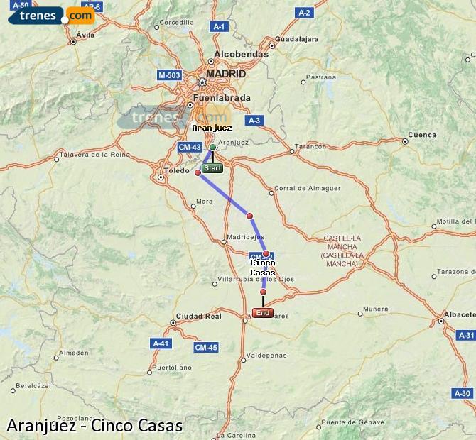 Enlarge map Trains Aranjuez to Cinco Casas