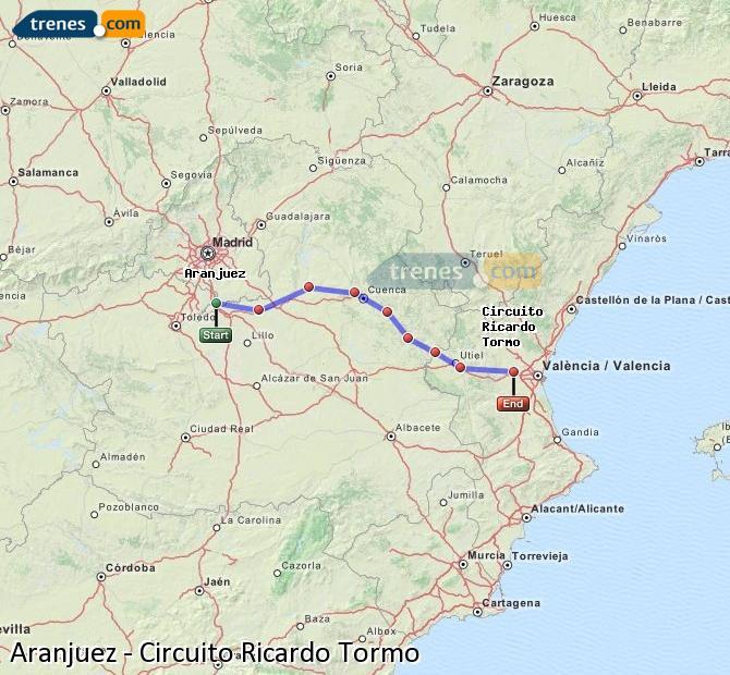 Enlarge map Trains Aranjuez to Ricardo Tormo Circuit