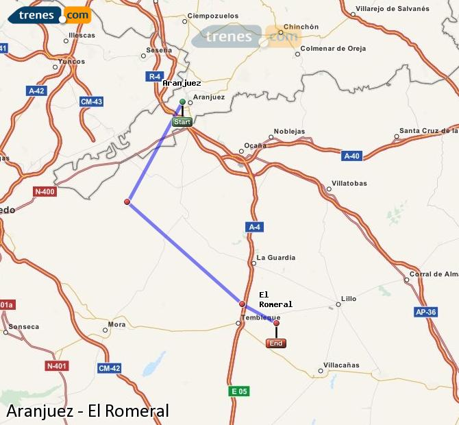 Enlarge map Trains Aranjuez to El Romeral