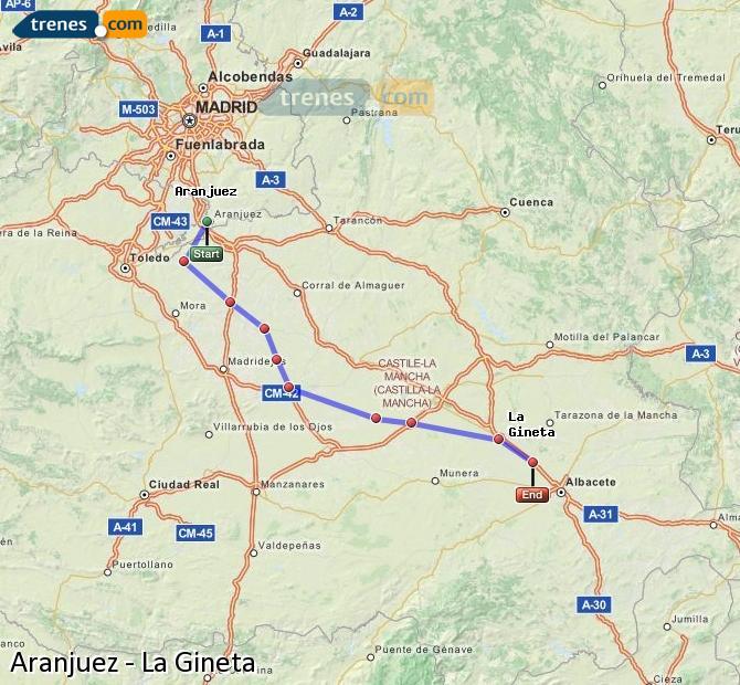Agrandir la carte Trains Aranjuez La Gineta