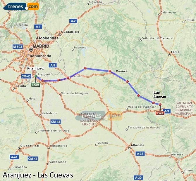 Enlarge map Trains Aranjuez to Las Cuevas