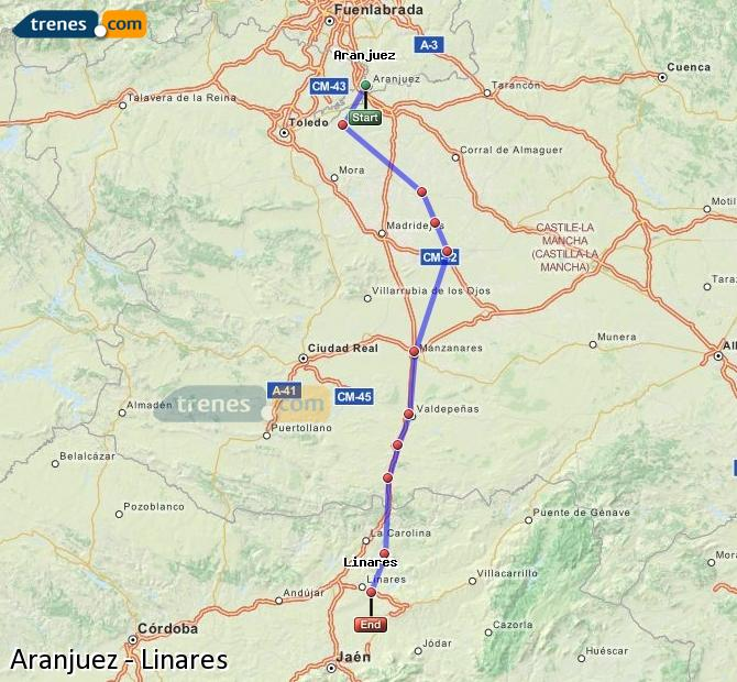 Enlarge map Trains Aranjuez to Linares