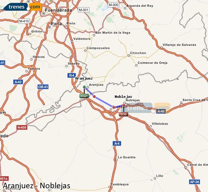 Enlarge map Trains Aranjuez to Noblejas