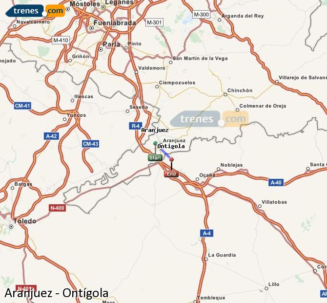 Enlarge map Trains Aranjuez to Ontígola