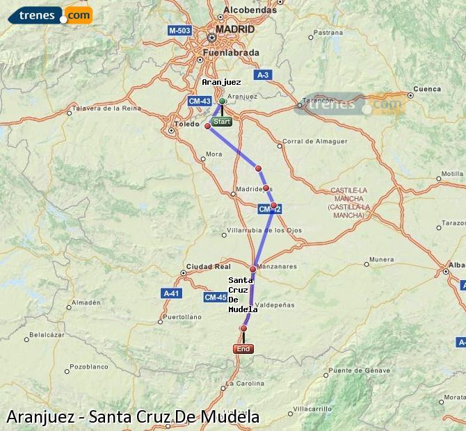 Enlarge map Trains Aranjuez to Santa Cruz De Mudela