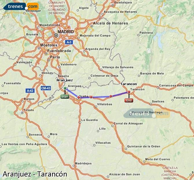 Enlarge map Trains Aranjuez to Tarancon