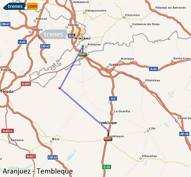Enlarge map Trains Aranjuez to Tembleque