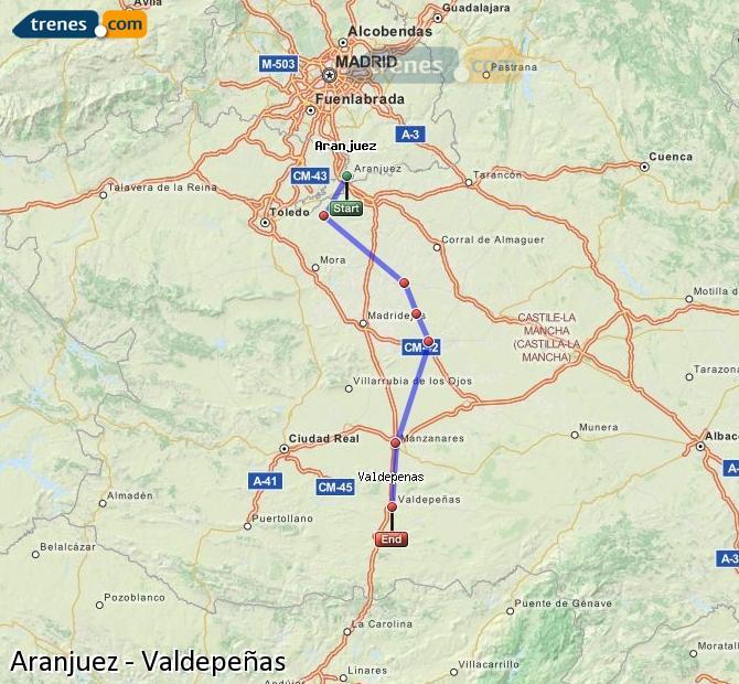 Enlarge map Trains Aranjuez to Valdepeñas