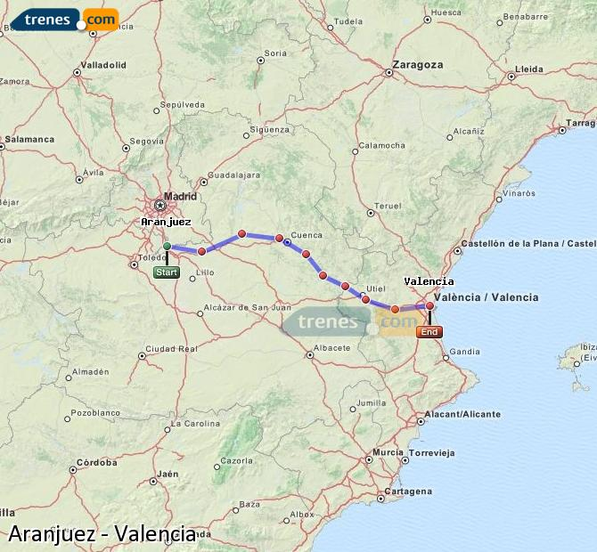 Enlarge map Trains Aranjuez to Valencia