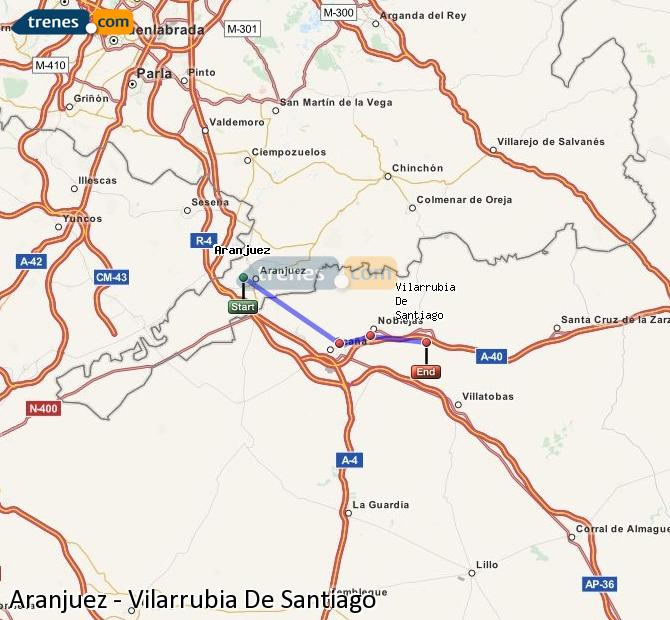 Enlarge map Trains Aranjuez to Vilarrubia De Santiago