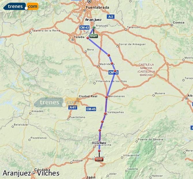 Ampliar mapa Trenes Aranjuez Vilches