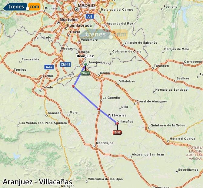 Enlarge map Trains Aranjuez to Villacañas
