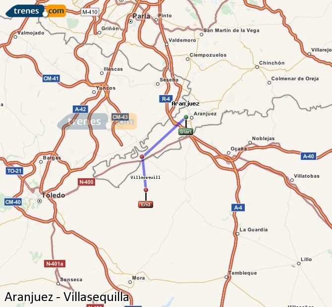Agrandir la carte Trains Aranjuez Villasequilla