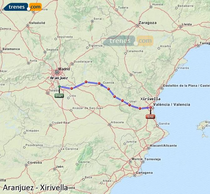 Enlarge map Trains Aranjuez to Xirivella