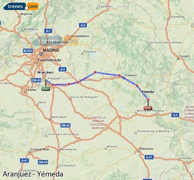 Agrandir la carte Trains Aranjuez Yémeda