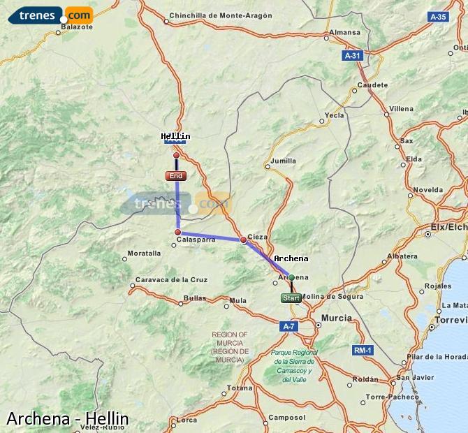 Ingrandisci la mappa Treni Archena Hellín