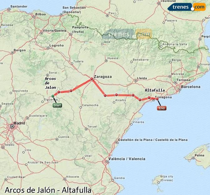 Agrandir la carte Trains Arcos de Jalón Altafulla