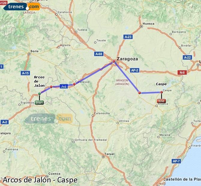 Ingrandisci la mappa Treni Arcos de Jalón Caspe