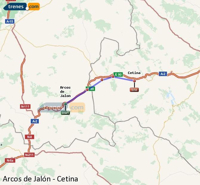 Agrandir la carte Trains Arcos de Jalón Cetina