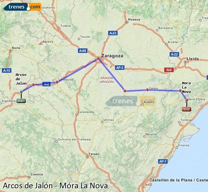 Agrandir la carte Trains Arcos de Jalón Móra La Nova