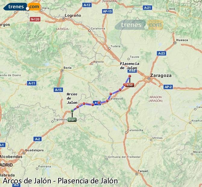 Ingrandisci la mappa Treni Arcos de Jalón Plasencia de Jalón