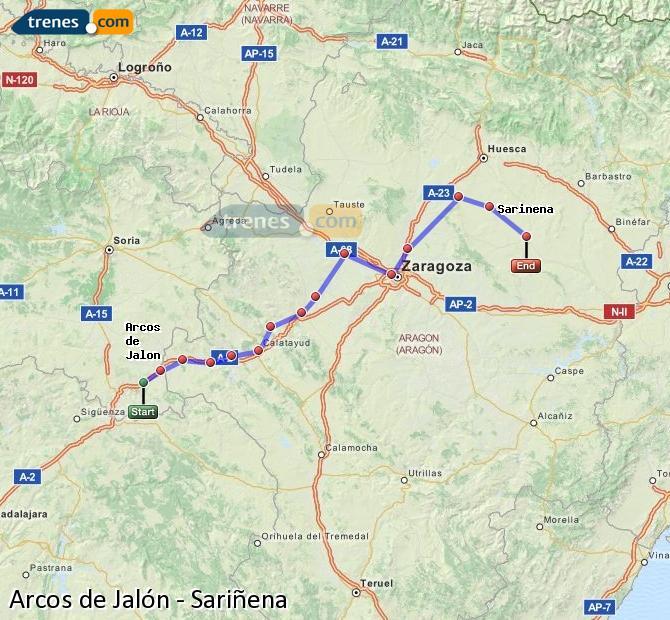 Agrandir la carte Trains Arcos de Jalón Sariñena