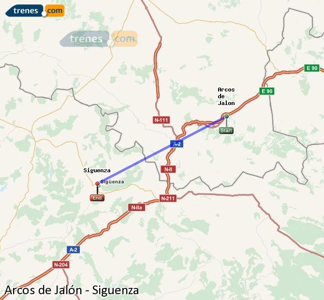 Enlarge map Trains Arcos de Jalón to Siguenza
